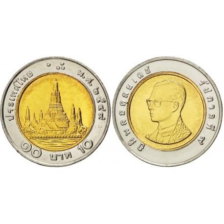 سکه 10 بات - بیمتال - مرکز مس آلومینیوم و  حلقه نیکل مس - تایلند 2008 غیر بانکی