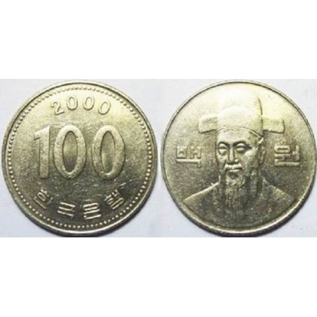 سکه 100 وون - نیکل مس - کره جنوبی 2000 غیر بانکی