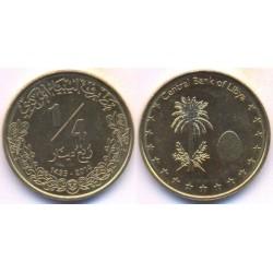 سکه ¼ دینار - برنج - لیبی 2014 غیر بانکی
