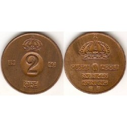سکه 2 اوره - برنز - سوئد 1960 غیر بانکی