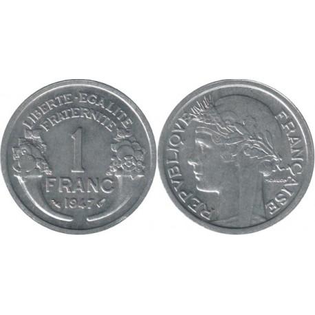 سکه 1 فرانک - آلومینیوم - فرانسه 1947 غیر بانکی