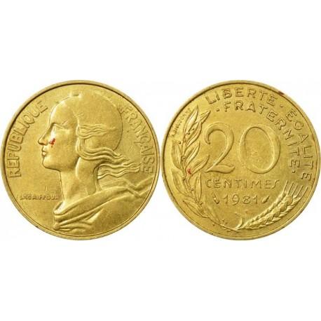 سکه 20 سنتیم - آلومینیوم برنز - فرانسه 1981 غیر بانکی