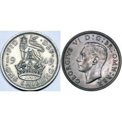 سکه 1 شیلینگ - نیکل مس - انگلیس 1949 غیر بانکی