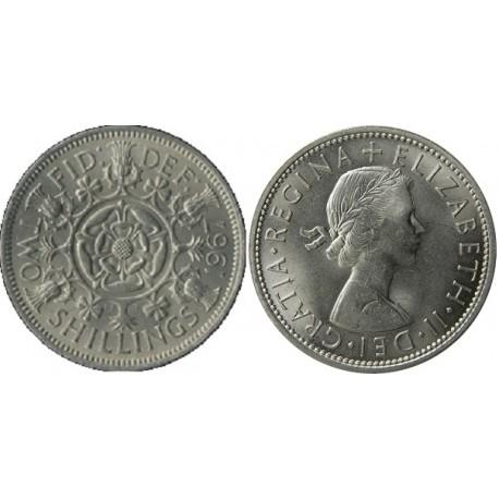 سکه 2 شیلینگ - نیکل مس - انگلیس 1967 غیر بانکی