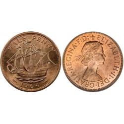 سکه نیم پنی - برنز - انگلیس 1964 غیر بانکی