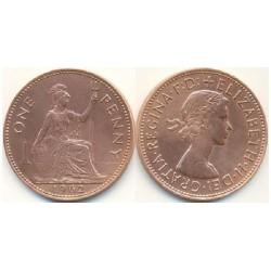 سکه 1 پنی - برنز - انگلیس 1962 غیر بانکی