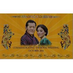 اسکناس 100 نگولتروم - یادبود ازدواج سلطنتی اکتبر 2011 - بوتان 2011 با فولدر مخصوص