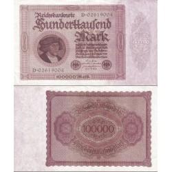 اسکناس 100.000 رایش مارک -رایش آلمان 1923 بدون T کنار پرتره - سریال 8 رقمی