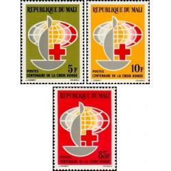 3 عدد تمبر صدمین سالگرد صلیب سرخ - مالی 1963