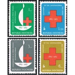4 عدد تمبر صدمین سالگرد صلیب سرخ - اندونزی 1963
