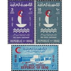 3 عدد تمبر صدمین سالگرد صلیب سرخ - عراق 1963