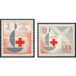 2 عدد تمبر صدمین سالگرد صلیب سرخ - شیلی 1963
