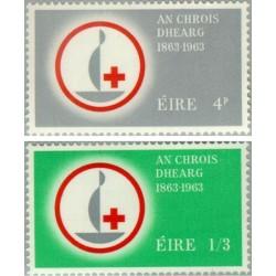 2 عدد تمبر صدمین سالگرد صلیب سرخ - ایرلند 1963
