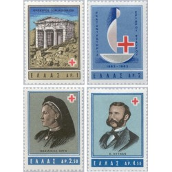 4 عدد تمبر صدمین سالگرد صلیب سرخ - یونان 1963