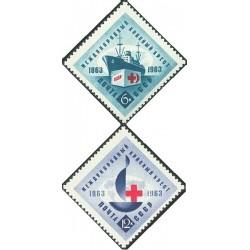 2 عدد تمبر صدمین سالگرد صلیب سرخ - شوروی 1963