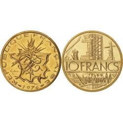 سکه 10 فرانک - نیکل برنج -فرانسه 1976 غیر بانکی