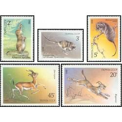 5 عدد تمبر حیوانات حفاظت شده - شوروی 1985