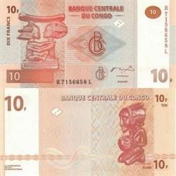 اسکناس 10 فرانک جمهوری دموکراتیک کنگو 2003 تک