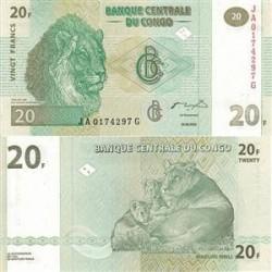 اسکناس 20 فرانک - کنگو 2003