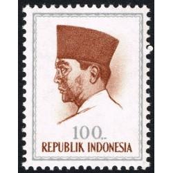 1 عدد تمبر سری پستی پرزیدنت سوکارنو - 100 - اندونزی 1964