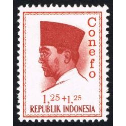 1 عدد تمبر سری پستی - کنفرانس نیروی تازه -  پرزیدنت سوکارنو -     1.25+1.25 - اندونزی 1965