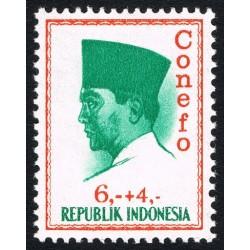 1 عدد تمبر سری پستی - کنفرانس نیروی تازه -  پرزیدنت سوکارنو - 6+4 - اندونزی 1965
