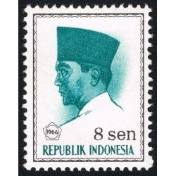 1 عدد تمبر سری پستی -  پرزیدنت سوکارنو - 8 سن - اندونزی 1966