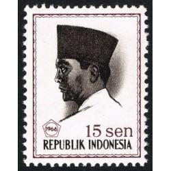 1 عدد تمبر سری پستی -  پرزیدنت سوکارنو - 15 سن - اندونزی 1966