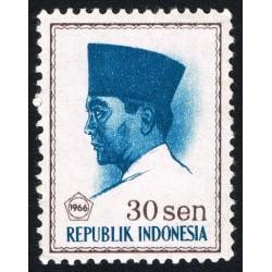 1 عدد تمبر سری پستی -  پرزیدنت سوکارنو - 30 سن - اندونزی 1966