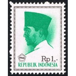 1 عدد تمبر سری پستی -  پرزیدنت سوکارنو - 1 روپیه - اندونزی 1966