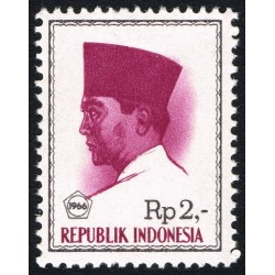 1 عدد تمبر سری پستی -  پرزیدنت سوکارنو - 2 روپیه - اندونزی 1966