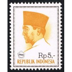 1 عدد تمبر سری پستی -  پرزیدنت سوکارنو - 5 روپیه - اندونزی 1966