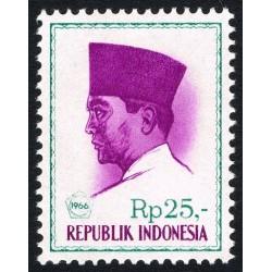 1 عدد تمبر سری پستی -  پرزیدنت سوکارنو - 25 روپیه - اندونزی 1966