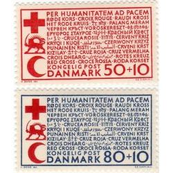 2 عدد تمبر صلیب سرخ - شیر و خورشید - خیریه - دانمارک 1966 با متن فارسی جمعیت شیر و خورشید سرخ ایران