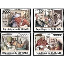 4 عدد تمبر یادبود پاپ ژان پل دوم - درحال تبریک گوئی -بروندی 2011 قیمت 9 دلار