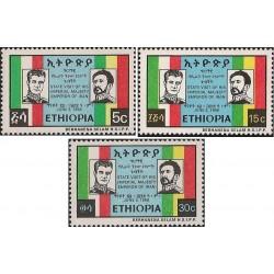 3 عدد تمبر دیدار شاه ایران با هیلاسلاسی پادشاه اتیوپی- اتیوپی 1968