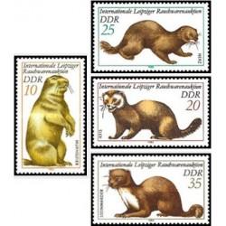 4 عدد تمبر حراج لباسهای خز لایپزیک - سمورها - جمهوری دموکراتیک آلمان 1982 قیمت 2.5 دلار