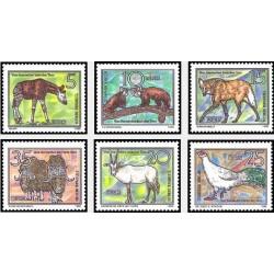 6 عدد تمبر حیوانات خطرناک - جمهوری دموکراتیک آلمان 1980