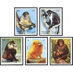 5 عدد تمبر میمونها - شارجه 1972