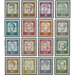 16 عدد تمبر سری پستی مشاهیر - جمهوری فدرال آلمان 1961 قیمت 5 یورو