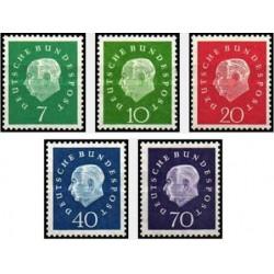 5 عدد تمبرسری پستی پرفسور تئودور هیوز - اولین رئیس جمهور آلمان -جمهوری فدرال  آلمان 1959 قیمت 22.6 دلار