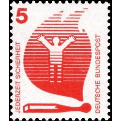 1 عدد تمبر سری پستی پیشگیری از حوادث - 5 فنیک  -جمهوری فدرال  آلمان 1971