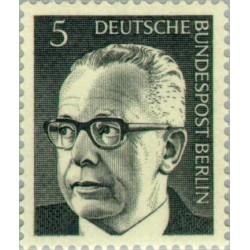 1 عدد تمبر سری پستی رئیس جمهور فدرال گوستاو هاینمان - 5 فنیک  - برلین آلمان 1970