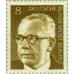 1 عدد تمبر سری پستی رئیس جمهور فدرال گوستاو هاینمان - 8 فنیک  - برلین آلمان 1970