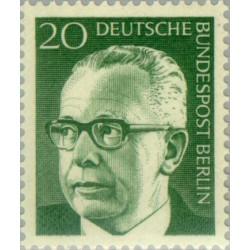 1 عدد تمبر سری پستی رئیس جمهور فدرال گوستاو هاینمان - 20 فنیک  - برلین آلمان 1970