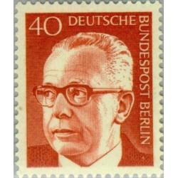 1 عدد تمبر سری پستی رئیس جمهور فدرال گوستاو هاینمان - 40 فنیک  - برلین آلمان 1970