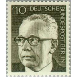 1 عدد تمبر سری پستی رئیس جمهور فدرال گوستاو هاینمان - 110 فنیک  - برلین آلمان 1972