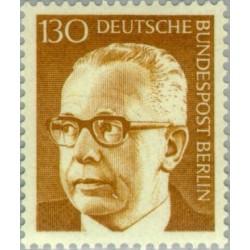 1 عدد تمبر سری پستی رئیس جمهور فدرال گوستاو هاینمان - 130 فنیک  - برلین آلمان 1972