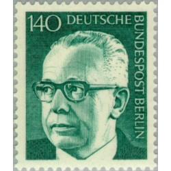 1 عدد تمبر سری پستی رئیس جمهور فدرال گوستاو هاینمان - 140 فنیک  - برلین آلمان 1972