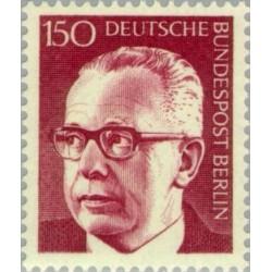 1 عدد تمبر سری پستی رئیس جمهور فدرال گوستاو هاینمان - 150 فنیک  - برلین آلمان 1972